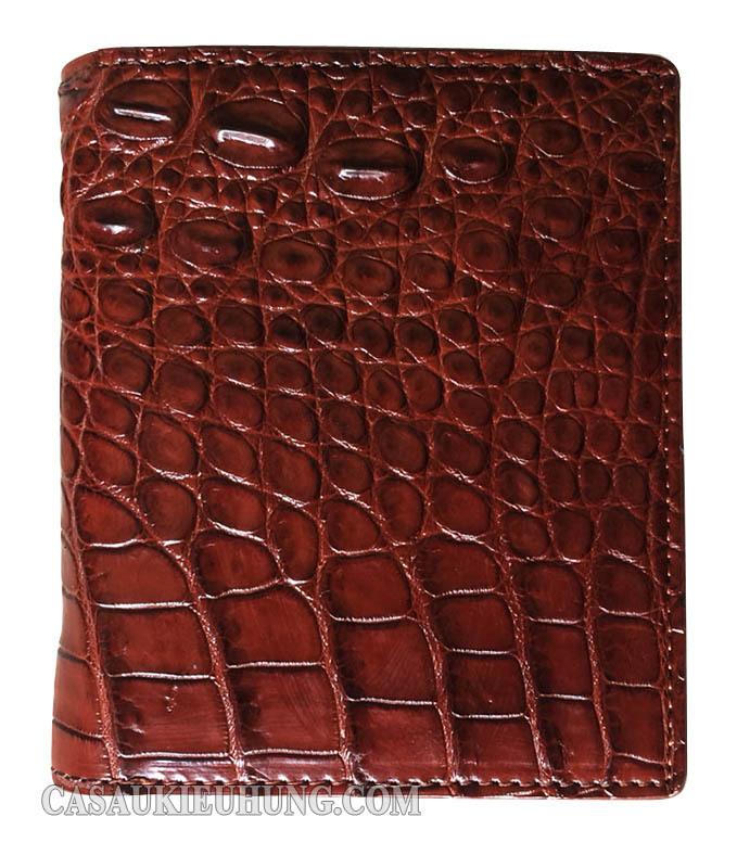 Bóp da đứng nam da cá sấu màu nâu - Hình 1
