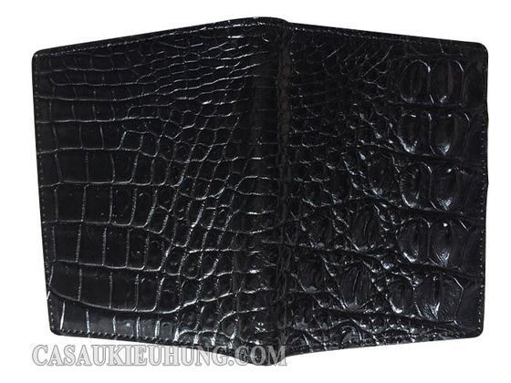 Bóp da đứng da lưng cá sấu gọn nhẹ màu đen - Hình 3