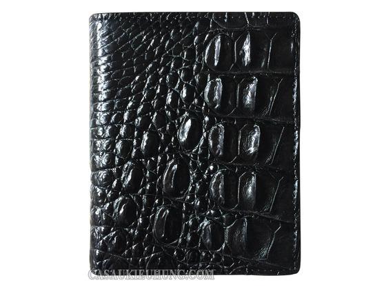Bóp da đứng da lưng cá sấu gọn nhẹ màu đen - Hình 1