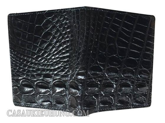 Bóp da đứng nam cá sấu lấy da lưng màu đen loại tốt - Hình 2