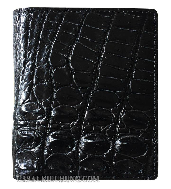 Bóp da đứng nam cá sấu lấy da lưng màu đen loại tốt - Hình 1