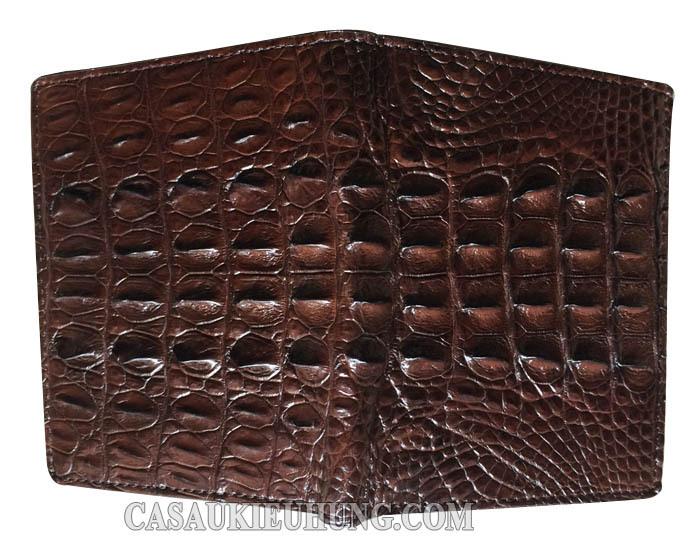 Bóp đứng da lưng cá sấu gọn nhẹ màu đen - Hình 3