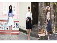Cách kết hợp chân váy xòe với áo phông đẹp dễ thương