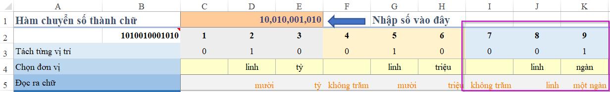 Hoàn thành đổi số tiền thành chữ theo công thức cho hàng trăm, hàng chục, hàng nghìn trong file Excel