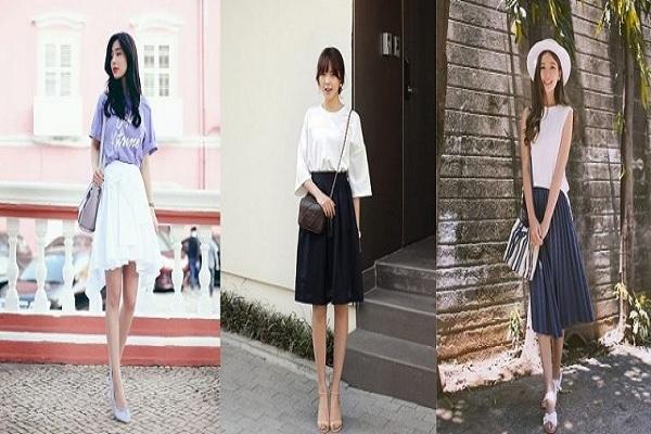 kết hợp chân váy xòe với áo phông