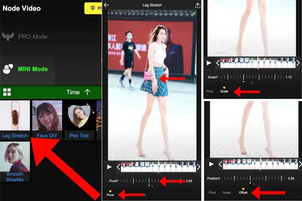 App quay video kéo dài chân của Trung QuốcNodevideo