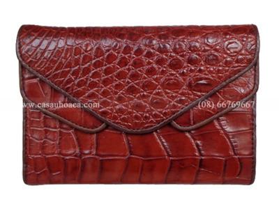 Ví nữ cá sấu Hoa Cà 2 nắp - 1032