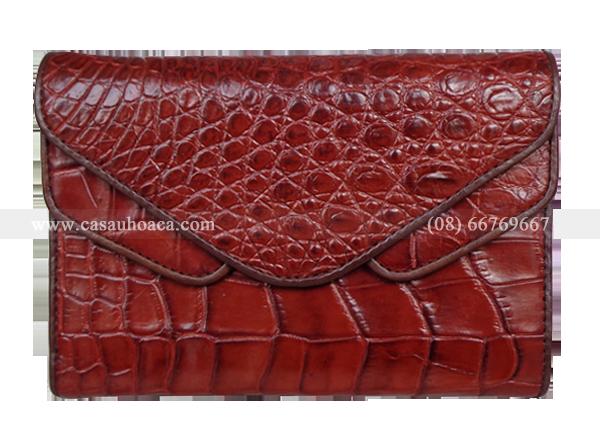 Ví nữ cá sấu Hoa Cà 2 nắp - 1032 - Hình 1